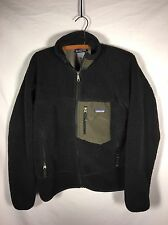 Patagonia Fleece Jacket Men's Size Small Retro-X Polyester Black & Olive Nice!!