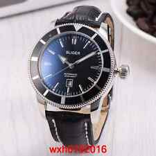 46mm BLIGER Mechanical automatic Date Indicator black dial mens Wristwatch 035