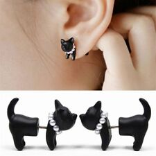 Vintage Pearl Black Stereoscopic Cat Ear Stud Piercing Earring Unisex UK Seller