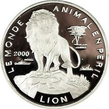 REPUBLIC OF TOGO ~ 1000 FRANCS 2000 ~  ENDANGERED LION .999 SILVER ~ GEM PROOF