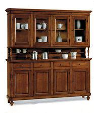 Credenza napoletana arte povera legno massello, cristalliera, mobile, sala