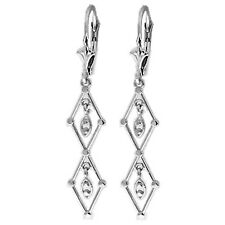 14K Solid White Gold Faithful To The End Chandelier Earrings