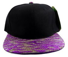 PURPLE SILVER BLACK GLITTER TIGER PRINT SNAPBACK HAT CAP ZEBRA ANIMAL FLAT BILL