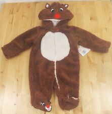 NWT Rudolph The Red-Nosed Reindeer Baby Fleece Onesie Sleeper Costume 3 Months