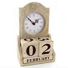 Calendar Natural wooden shabby chic vintage perpetual date clock gift retro wood