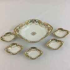 "Antique Nippon Small Bowl & 5 Matching Butter Pats Floral Gold Hand Painted ""M"""