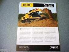 ASV RC-100 Rubber Track Loader Brochure Track Type Skid Steer