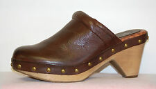 Lucky Brand Maddox Women's Brown Tumbled Leather Mule 10 Medium, 3 1/2 inch heel