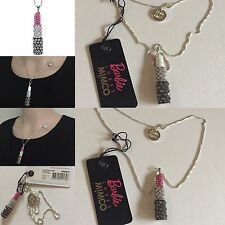 Rare Barbie Loves �� Charm Necklace Sterling Silver Jet Fuchsia Mimco dust bag