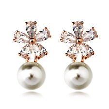 Rose Gold Filled Clear Swarovski Crystal Flower Bridal White Pearl Earring IE34