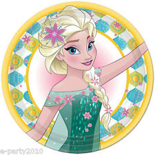 FROZEN FEVER LARGE PAPER PLATES (8) ~ Disney Birthday Party Supplies Elsa Lunch