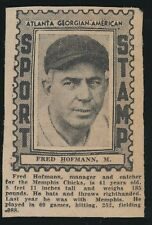 "1936 Atlanta Georgian-American ""Sport Stamp"" -FRED HOFMANN (Memphis Chicks)"