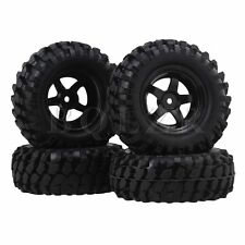 4x RC1:10 Rock Crawler Gravel Shape Rubber Tire Plastic 5-Spoke Wheel Rim Black