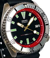 Vintage mens SEIKO diver 7002 mod w/GOLD hands, RED Chapter Ring & SILVER bezel!