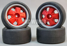 RC 1/10 Tamiya OEM CAR Tires Wheels Rims Set PORSCHE 911 Carrera RSR Stagger