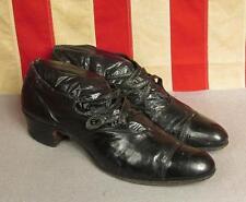 """Vintage 1920s Black Leather Womens Shoes Heels Unique 12 3/4"""" Length Antique"""