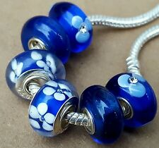 Royal Blue White Crystal Flowers Single Core European Murano Glass Charms Beads