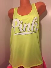 Victoria's Secret Pink Logo Neon Lime Green Extreme Racerback Tank Top MED NWT