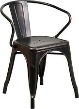 Flash Furniture Black-Antique Gold Metal Indoor-Outdoor Chair w/Arms Chair NEW