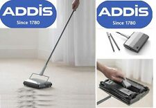 ADDIS MANUAL CARPET SWEEPER 3 BRUSH CORDLESS HARD FLOOR RUG CLEANER DUSTER BROOM
