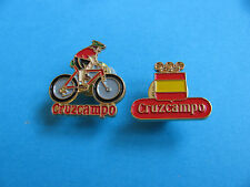 2, CRUZCAMPO Brewery Beer pin badges. VGC. Unused.  (Heineken Spain) Cycle Team
