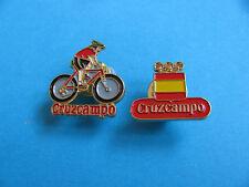 2, CRUZCAMPO Brewery Beer pin badges. VGC. Unused.  (Heineken Spain) Cycle Team