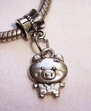 Pig in Clothes Farm Animal Dangle Bead for Silver European Style Charm Bracelets