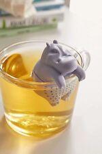 GAMAGO Hippo Tea Infuser Herbal Leaf Steeper Grey Silicone Animal Gift