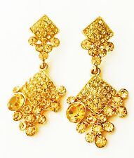EARRING Rhinestone crystal Gold Fashion gemstone Dangle party Lite Long Yellow