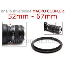 Anello MACRO COUPLER adattatore INVERSIONE 52mm - 67mm 52 67 Canon Nikon Sony