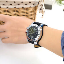 Large dial Watch Face Wide Band Men Boy Wristwatch PU Leather Stainless Steel F5