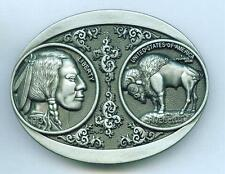 Gürtelschnalle Buckle Indian Coin Buffalo Indianer Western