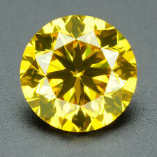 CERTIFIED .033 cts. Round Vivid Yellow Color VVS Loose Real/Natural Diamond 3E