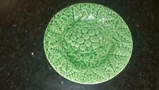 Antique Bordallo Pinheiro Green Majolica Grape & Leaf Plate C 1880+