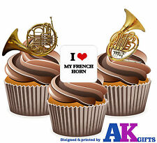 I Love My French Horn Mix 12 Edible Stand Up Cup Cake Toppers Decorations