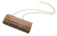 Ophelia Diamante Embellished 20x10cm Golden Clutch Bag(Cl36)