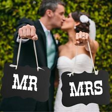 Mr and Mrs photo booth props,  2 pcs chair signs, wedding decorations, US SELLER