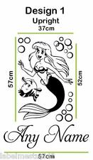 LITTLE MERMAID Wall Sticker ANY NAME Custom Decal Names Ariel Flounder Fish