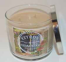NEW BATH & BODY WORKS CITRON CEDARWOOD SCENTED CANDLE 3 WICK 14.5 OZ LARGE HTF