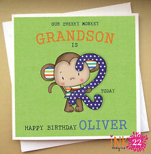Personalised Birthday Card, Cheeky Monkey, Son, Nephew, Grandson 1st,2nd,3rd,4th