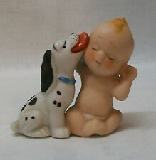 Baby Child Loved by Dog White and Black Spotted Figurine Vintage