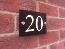 LUMINOUS MODERN HOUSE SIGN PLAQUE GLOSS BLACK DOOR NUMBER