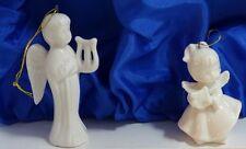 2 weiße hochwertige Porzellan Engel zum hängen Baumschmuck