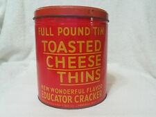 Toasted Cheese Thins Tin CAn     Vintage Kitchen Food Tin Can