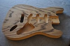 Unfinished Hollow Stratocaster Body Zebra Wood / Basswood SSS 2lb 7oz