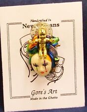 Handcrafted Mardi Gras Mask Pin King Cake Baby by Gore's Made in the Ghetto Art