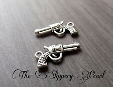 Gun Charms Pistol Charms Antiqued Silver Gun Pendants 10 pieces Western Charms