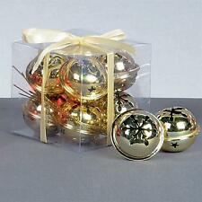 Premier Christmas Decoration 8 Pack Snowflake 40mm Jingle Bell Baubles - Gold