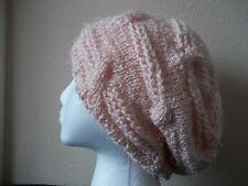 Hand knitted cable pattern beret hat, sparkly soft pink