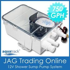 12V AQUATRACK 750GPH SHOWER SUMP PUMP SYSTEM AUTO BILGE/DRAIN BOX - Caravan/Boat